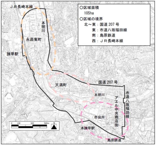 諫早市区域面積地図